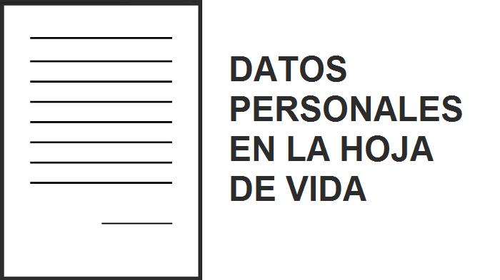Datos personales en la hoja de vida